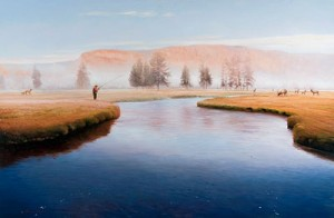 """Sharing The Morning oil on panel image size 29""""x44"""" Framed in custom made mahogany frame For price please contact us"""