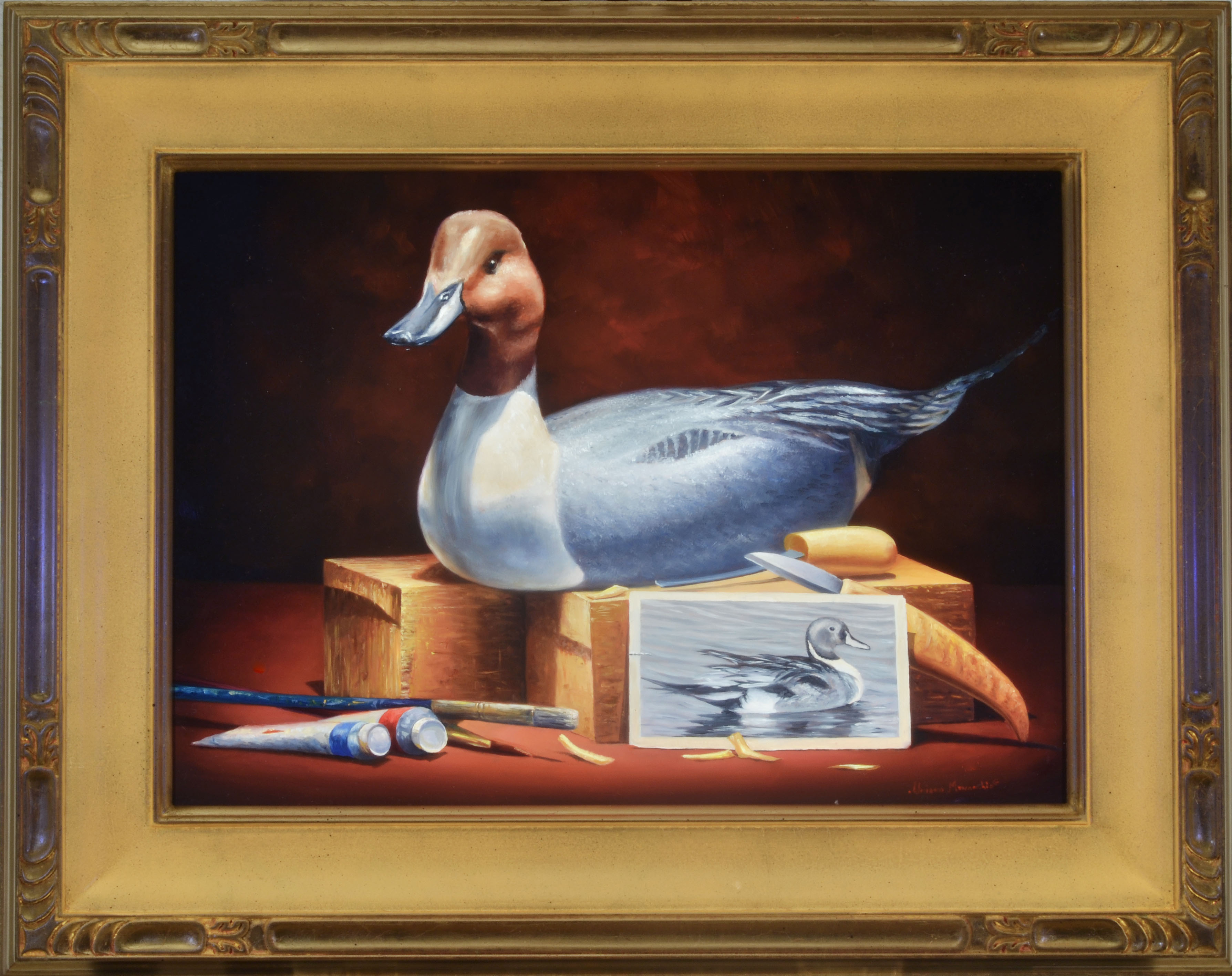 """In His Studio oil on panel image size 13""""x18"""" Framed in custom made frame Retail price $3,000.00 (Plus Shipping)"""