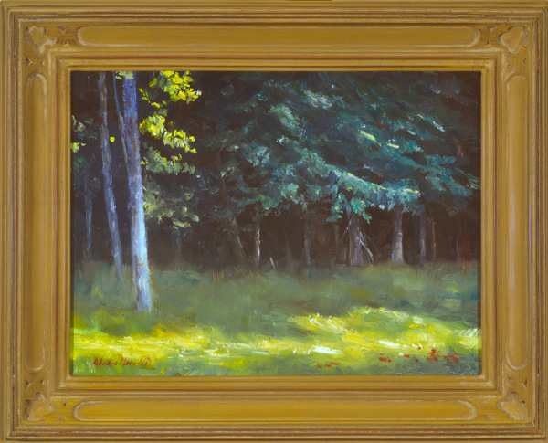 """Setting Sun oil on panel image size 9""""x12"""" Framed in custom made frame Retail price $450.00 (Plus Shipping)"""