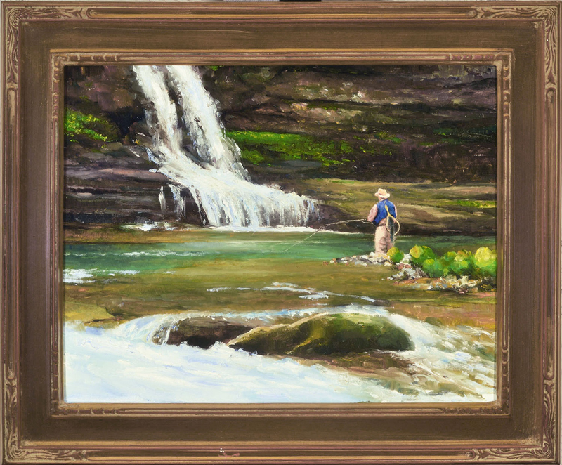 """In The Deep Pool Plein Aire oil on panel image size 11""""x14"""" Framed in custom made gold frame Retail price $550.00 (Plus Shipping)"""