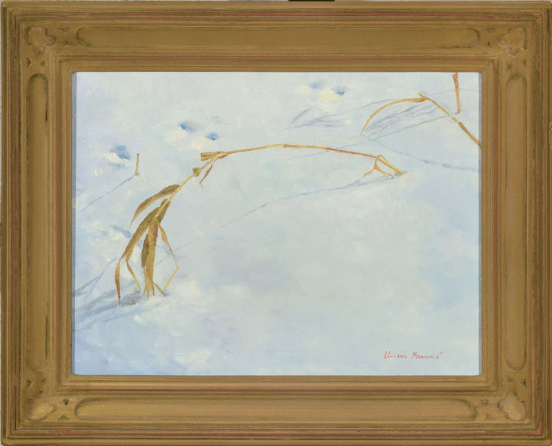 """Tracks Plein Aire oil on panel image size 9""""x12"""" Framed in custom made gold frame Retail price $425.00 (Plus Shipping)"""