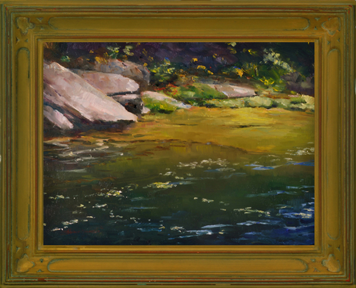 "Secrets of the River Plein Aire oil on panel image size 9""x12"" Framed in custom made gold frame Retail price $425.00 (Plus Shipping)"