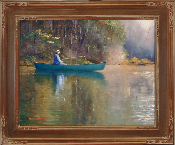 "Summer Morning Plein Aire oil on panel image size 11""x14"" Framed in custom made gold frame Retail price $550.00 (Plus Shipping)"