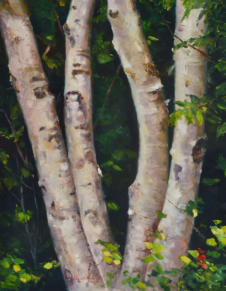 "Summer Birch Plein Aire oil on panel image size 14""x18"" Framed in custom made gold frame Retail price $750.00 (Plus Shipping)"