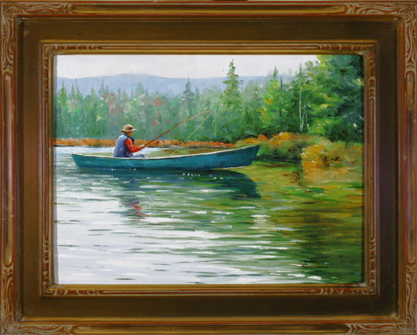"First Fish Plein Aire oil on panel image size 9""x12"" Framed in custom made gold frame Retail price $450.00 (Plus Shipping)"