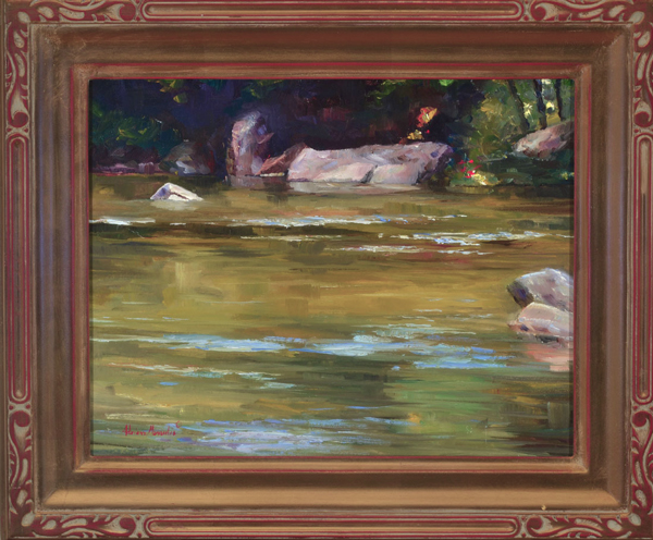 "Flowing Water Plein Aire oil on panel image size 11""x14"" Framed in custom made gold frame Retail price $550.00 (Plus Shipping)"